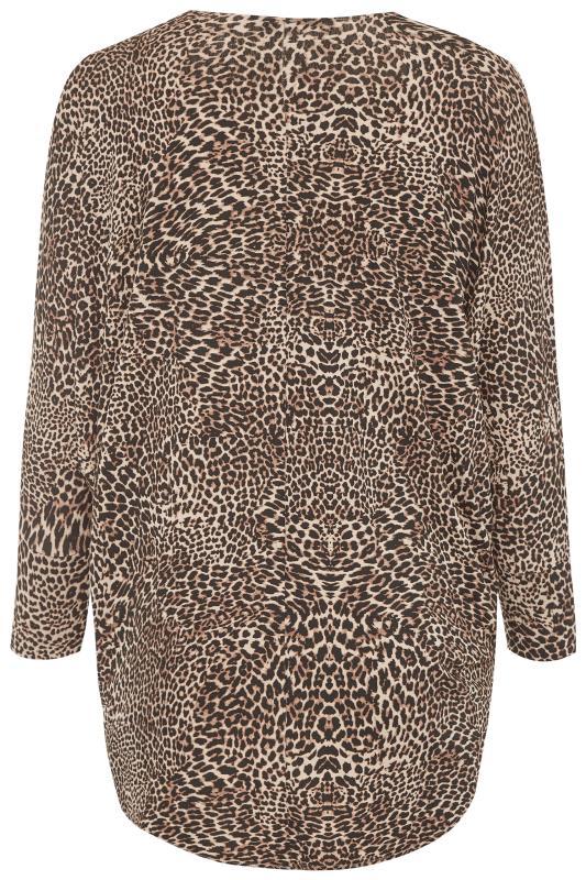 Stone Leopard Print Short Cocoon Cardigan