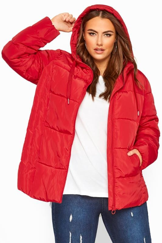 Plus Size Puffer & Quilted Jackets Red Short Puffer Coat