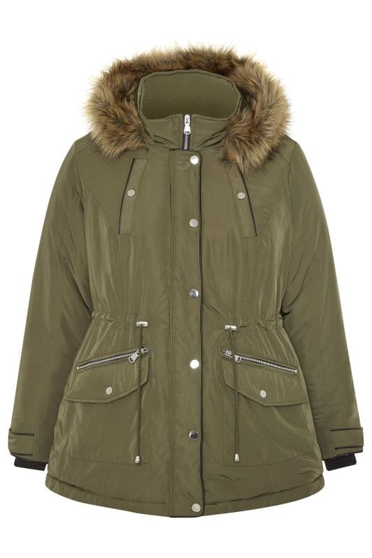 Khaki Faux Fur Trim Short Parka Coat