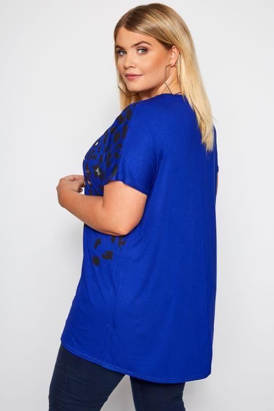 Cobalt Blue Leopard Print Foil T-Shirt