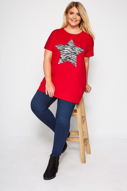 Red Zebra Star Print T-Shirt