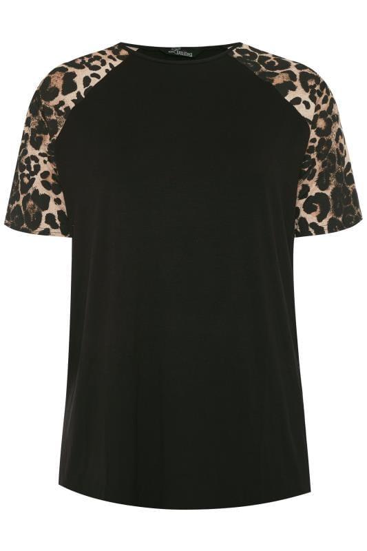 LIMITED COLLECTION Black Animal Print Short Raglan Sleeve Top