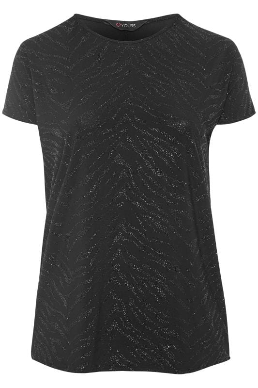 Plus Size Jersey Tops Black Textured Sparkle Top