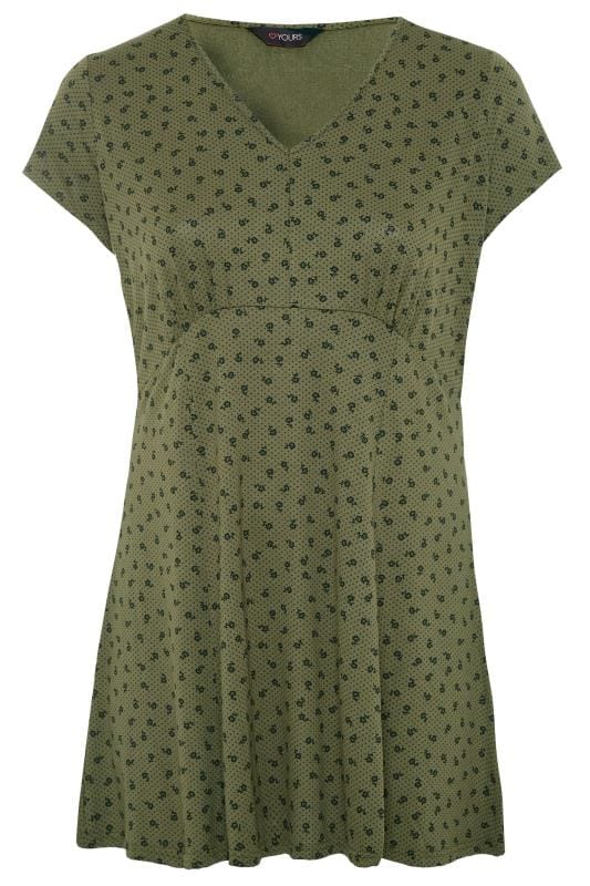 Plus Size Tunics Khaki Ditsy Floral Swing Tunic