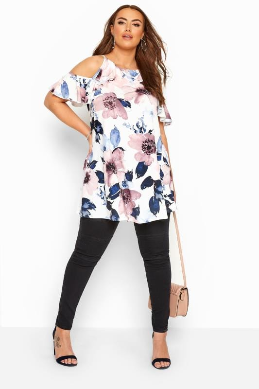 White Floral Cold Shoulder Tunic