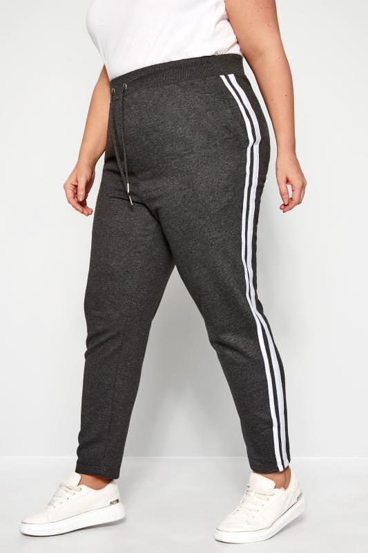 Plus Size Joggers Grey Side Stripe Joggers