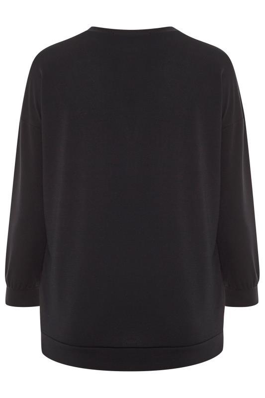 Black Stud Lips Print Sweatshirt