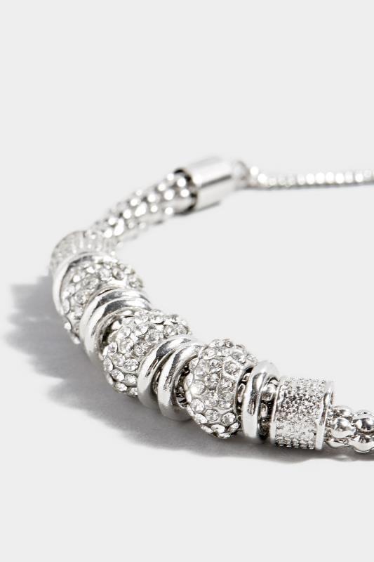 Armband met kralen - zilverkleurig