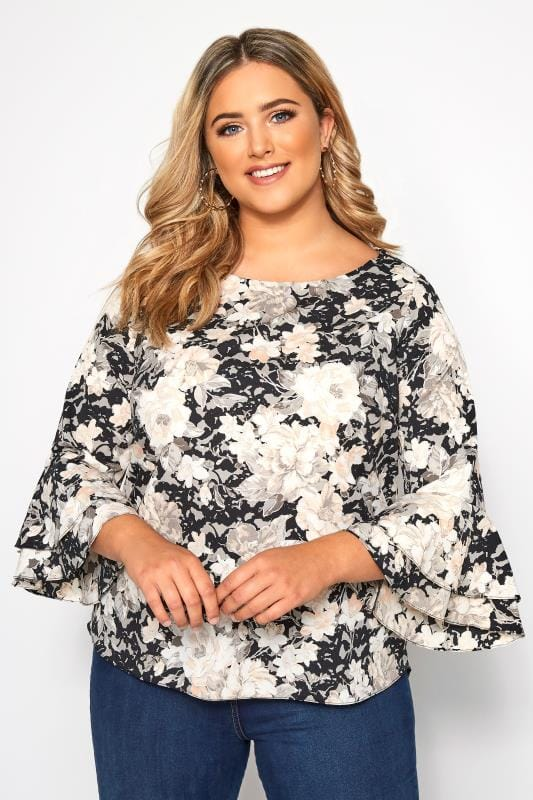 Plus Size Day Tops SIZE UP Black Floral Bell Sleeved Blouse