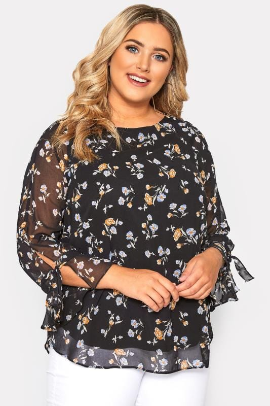 Plus Size Chiffon Blouses SIZE UP Black Floral Chiffon Bell Sleeved Blouse
