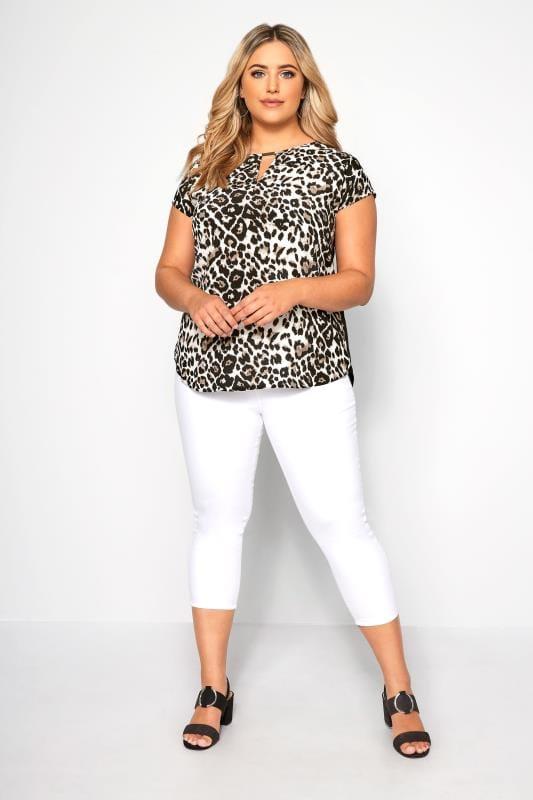 SIZE UP Black Leopard Print Cut Out Blouse