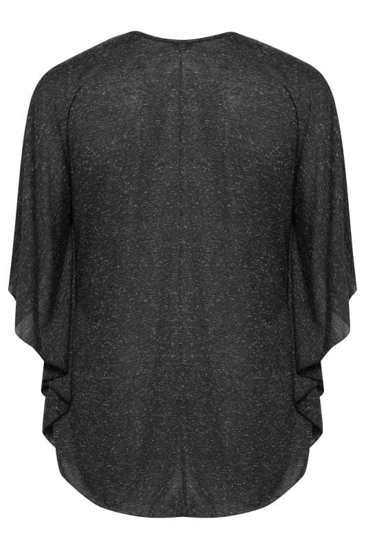 SIZE UP Black Marl Jersey Cape Top