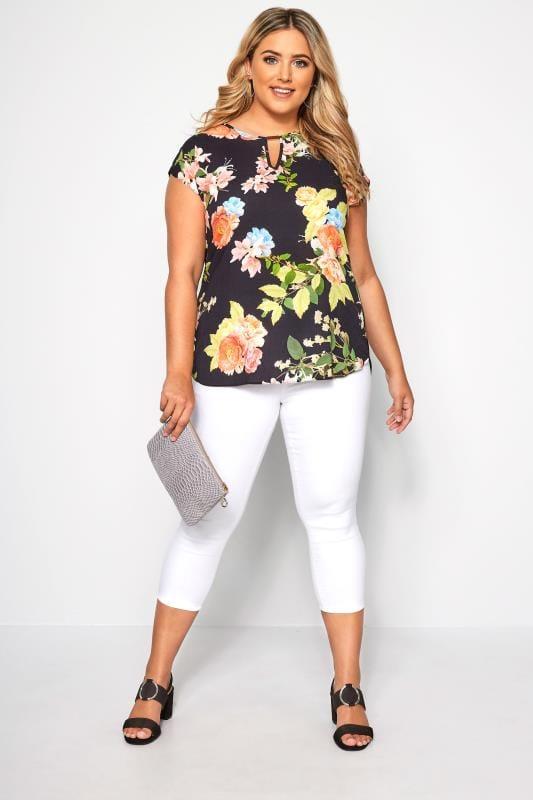 SIZE UP Black & Multi Floral Cut Out Blouse