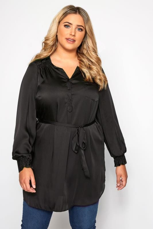 Plus Size Longline Tops SIZE UP Black Sateen Longline Blouse