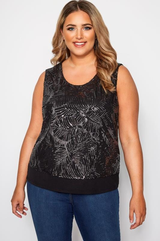 SIZE UP Black Sequin Jersey Top