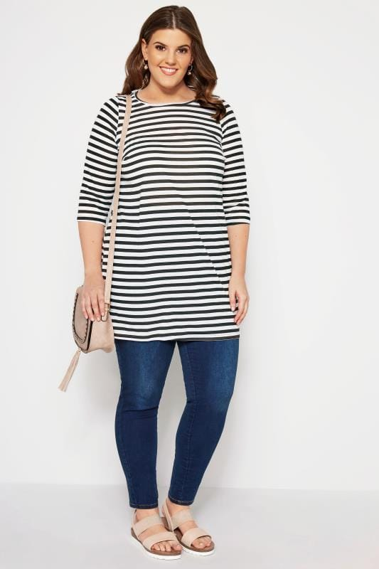 SIZE UP Black & White Striped Longline Top