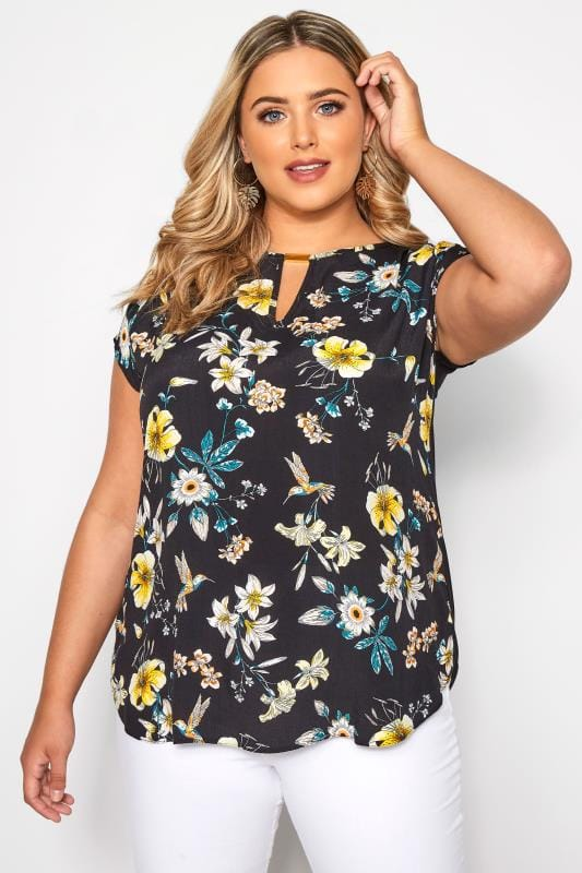 SIZE UP Black & Yellow Floral Bird Print Cut Out Blouse