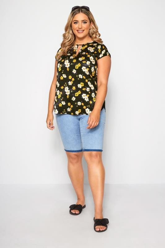 SIZE UP Black & Yellow Floral Print Cut Out Blouse