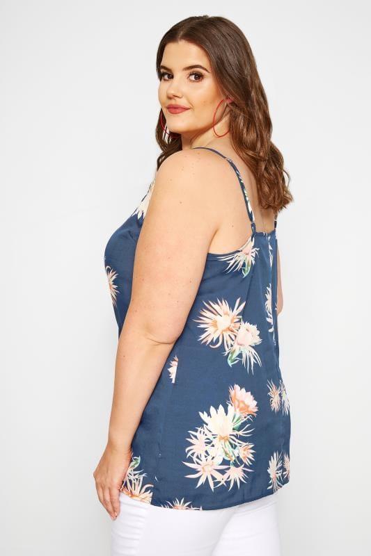 Blue Floral Print Cami Top