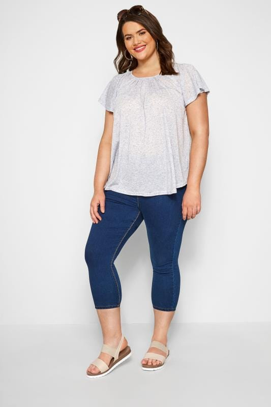 SIZE UP Blue Marl Angel Sleeve Jersey Top