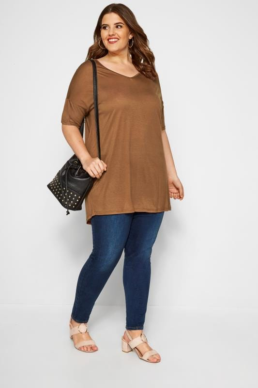 SIZE UP Brown Cut Out Tunic Top