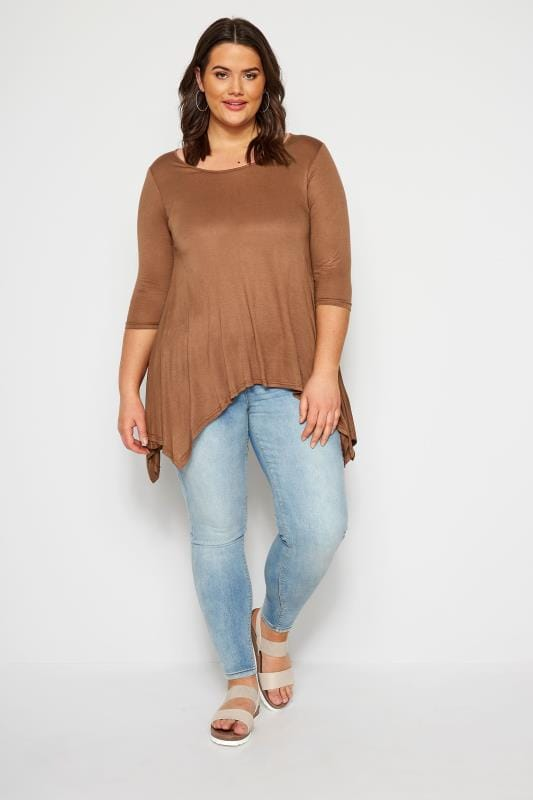 SIZE UP Brown Hanky Hem Top