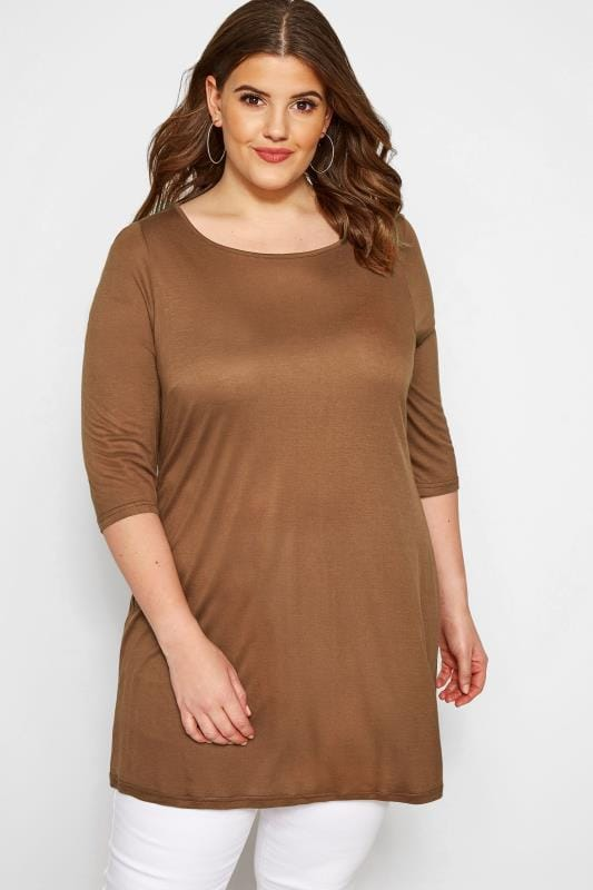 SIZE UP Brown Jersey Top