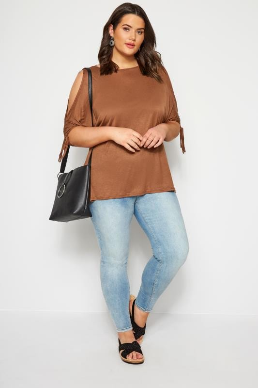 SIZE UP Brown Keyhole Ruched Sleeve Top