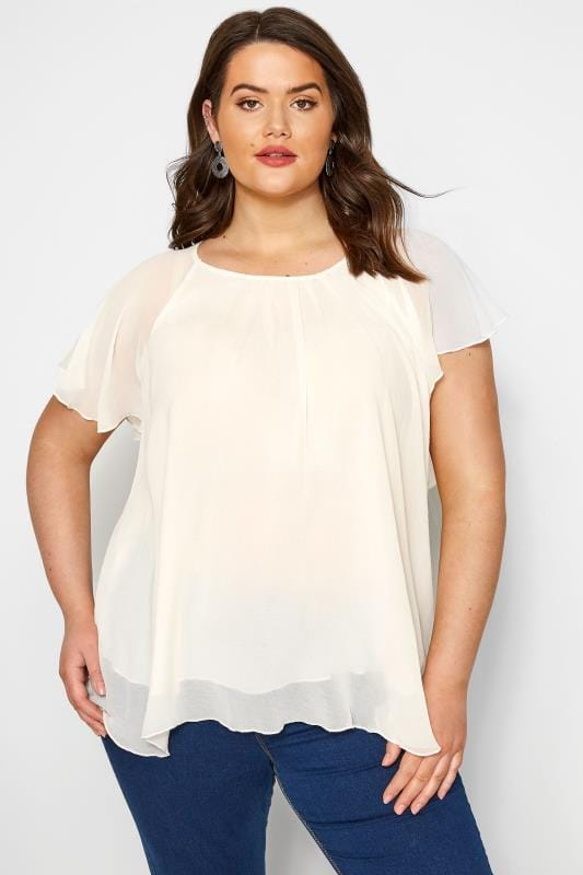 SIZE UP Cream Chiffon Angel Sleeve Top