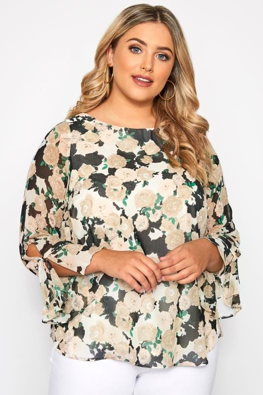 SIZE UP Cream Floral Long Sleeve Blouse