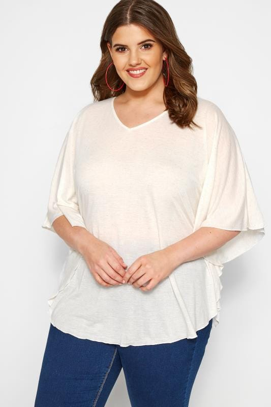 Plus Size Jersey Tops SIZE UP Cream Marl Jersey Cape Top