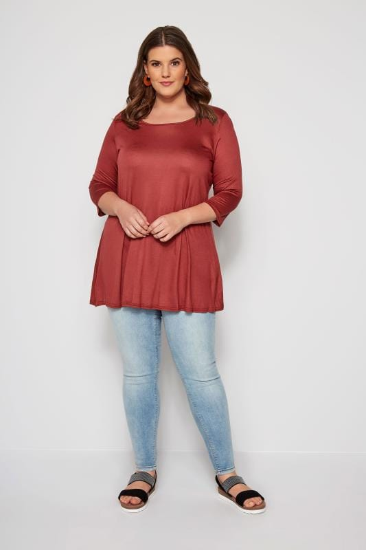 SIZE UP Dark Red Longline Jersey Top