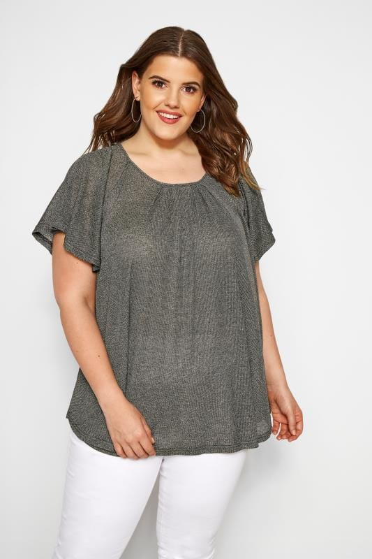 Plus Size Jersey Tops SIZE UP Gold Metallic Angel Sleeve Top
