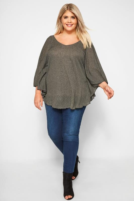 SIZE UP Gold Metallic Cape Top