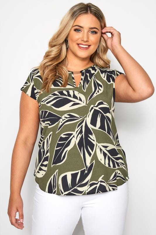 Plus Size Blouses & Shirts SIZE UP Green Leaf Print Cut Out Blouse