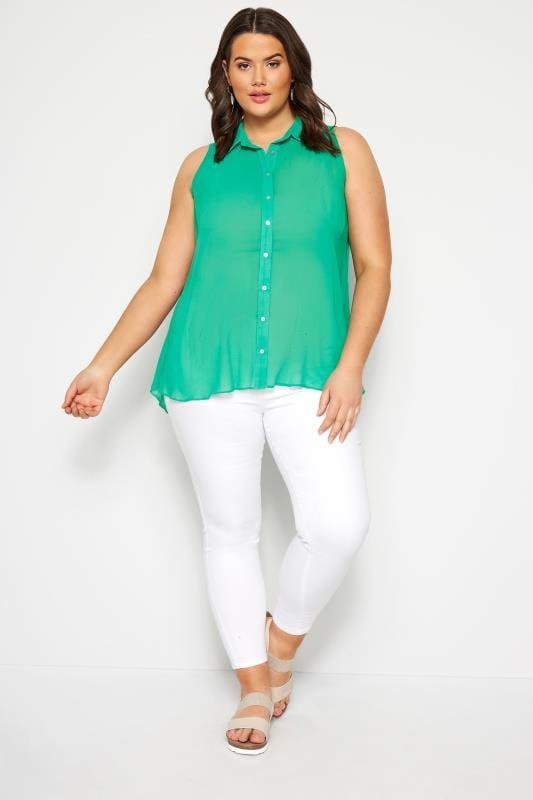 Size Up Ärmellose Bluse - Grün
