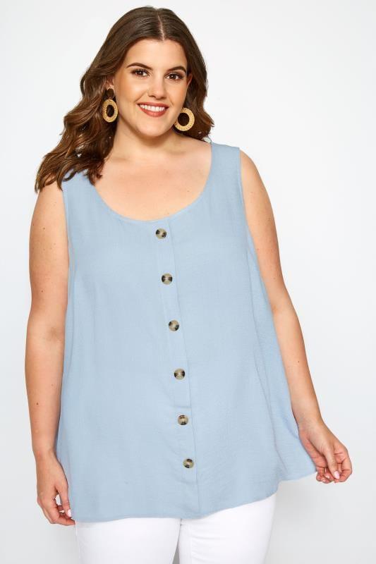 Plus Size Blouses & Shirts SIZE UP Light Blue Button Blouse