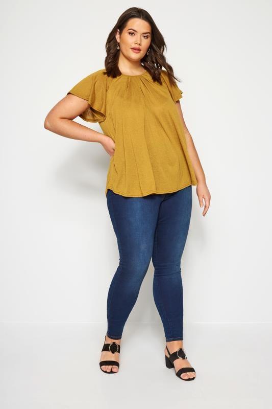 Size Up Shirt mit Flügel-Ärmeln - Senfgelb