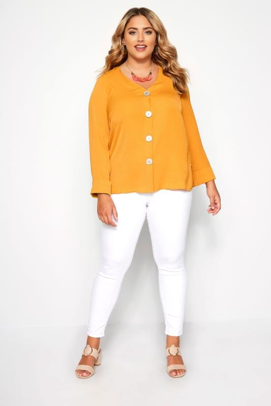 SIZE UP Mustard Button Front Blouse