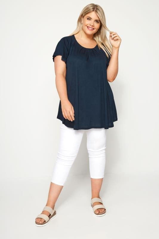 SIZE UP Navy Angel Sleeve Jersey Top
