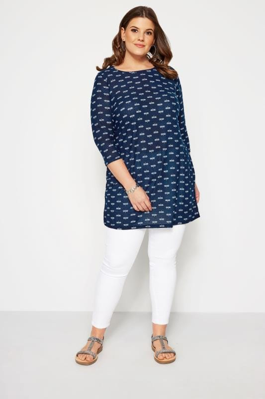 SIZE UP Navy Dragonfly Longline Top