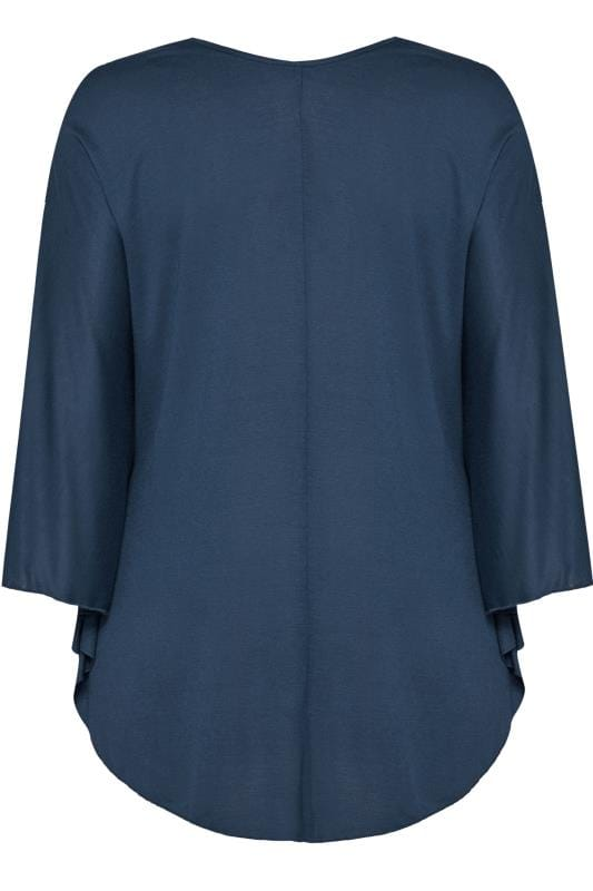 SIZE UP Navy Jersey Cape Top