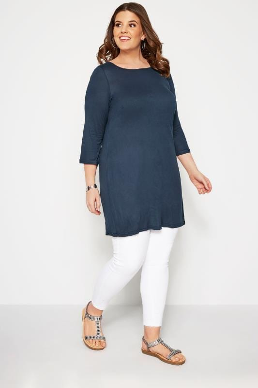 SIZE UP Navy Longline Jersey Top