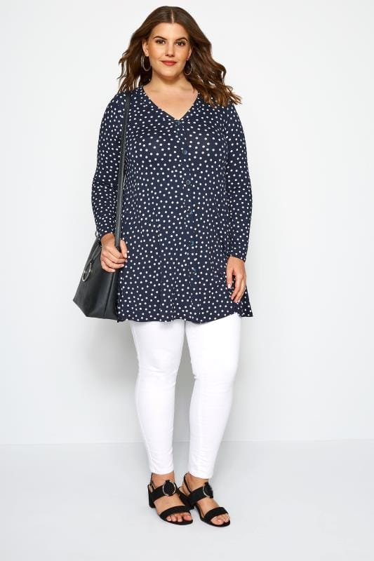 SIZE UP Navy Polka Dot Swing Top