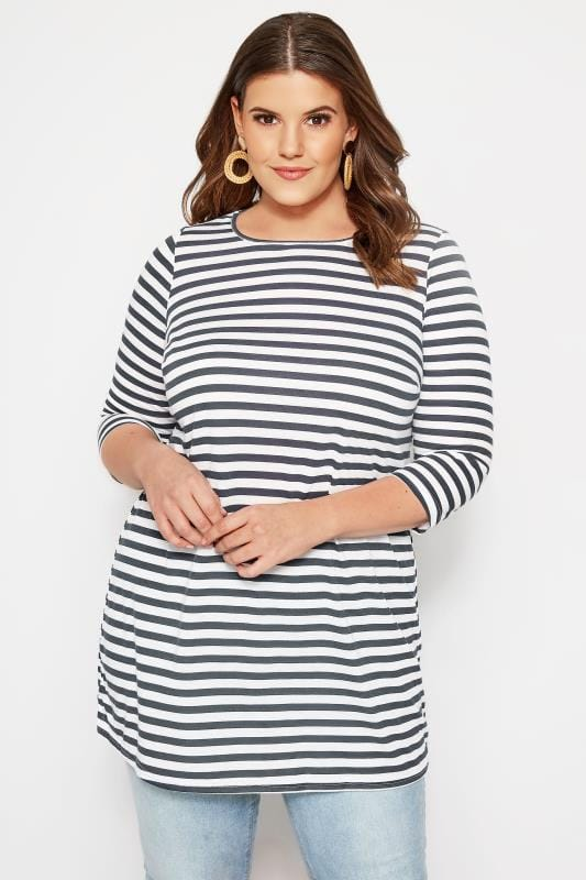 SIZE UP Navy & White Striped Longline Top