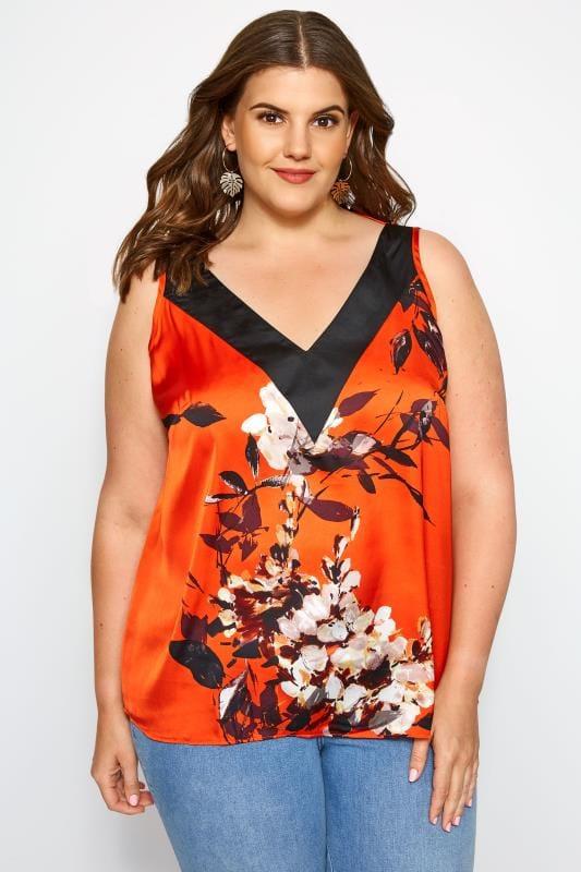 Plus Size Chiffon Blouses SIZE UP Orange Floral Sleeveless Blouse