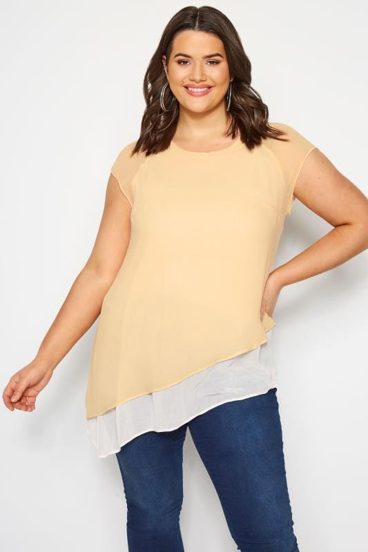 Plus Size Day Tops SIZE UP Pale Orange Double Layered Asymmetric Top