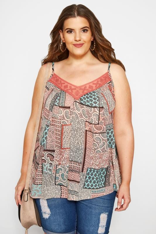 SIZE UP Pink Patchwork Print Cami Top