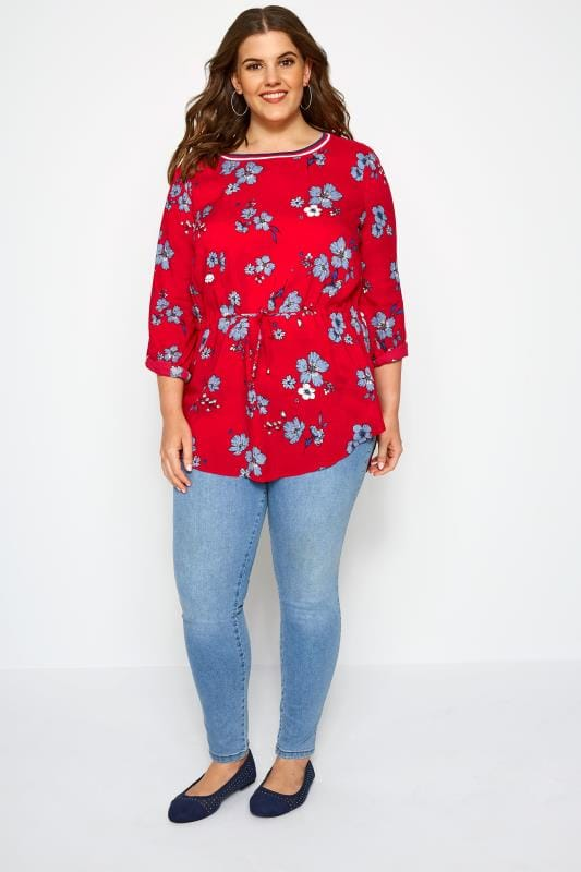SIZE UP Red Floral Blouse
