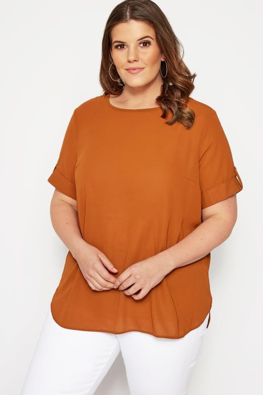 Size Up Chiffon-Bluse - Dunkel-Orange